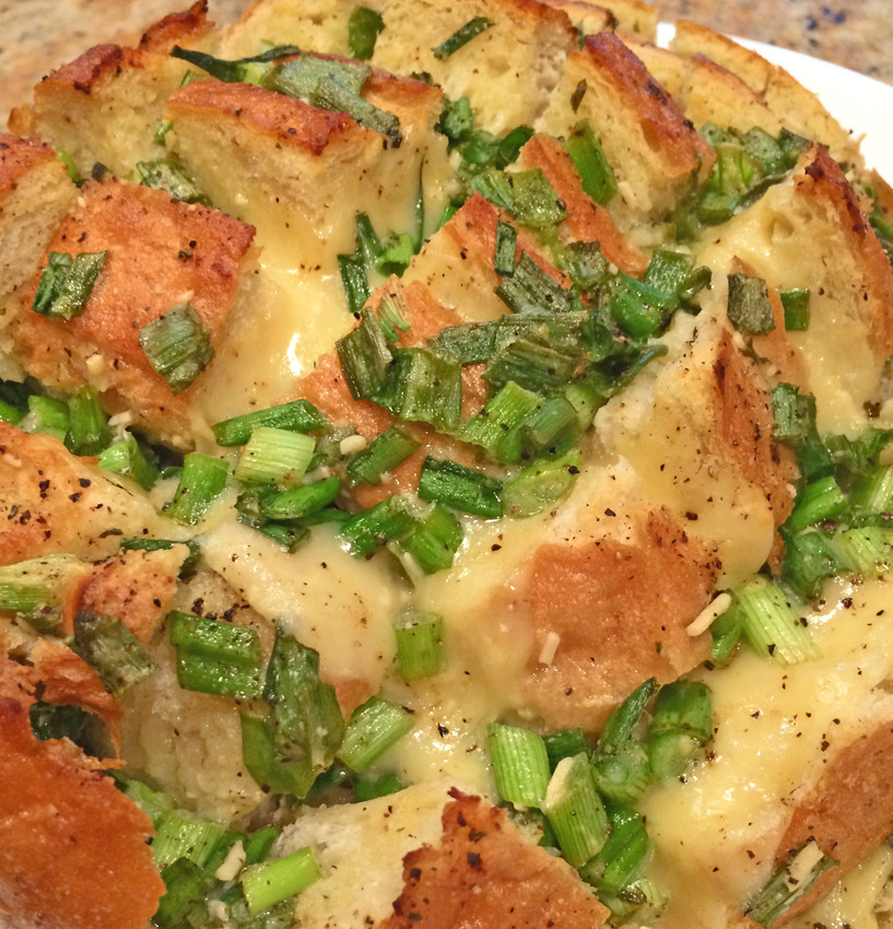 Cheesy Onion Bread with dubliner cheese and green onions.
