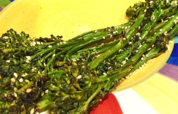Oven roasted broccolini with ginger and sesame seeds.