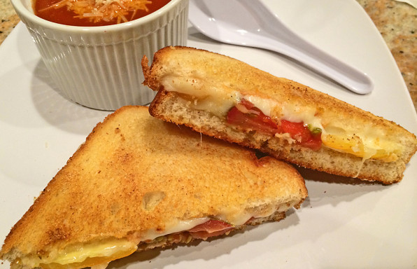Gourmet grilled cheese with heirloom tomatoes and havarti.