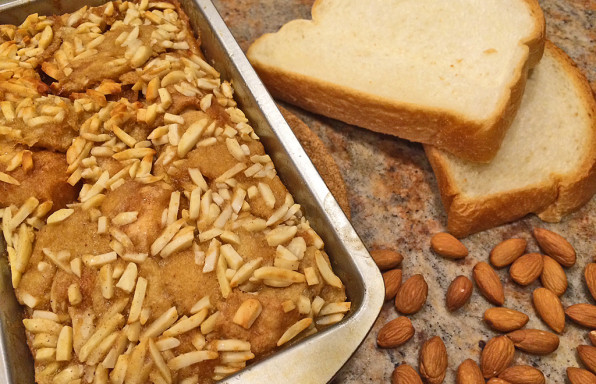 Easy French Toast Bake with bread, eggs, and almonds.