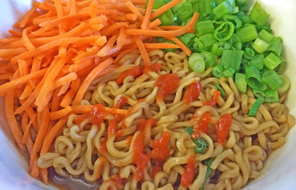 Instant Ramen Noodles in Low Sodium Broth with carrots, green onions, and sriracha.
