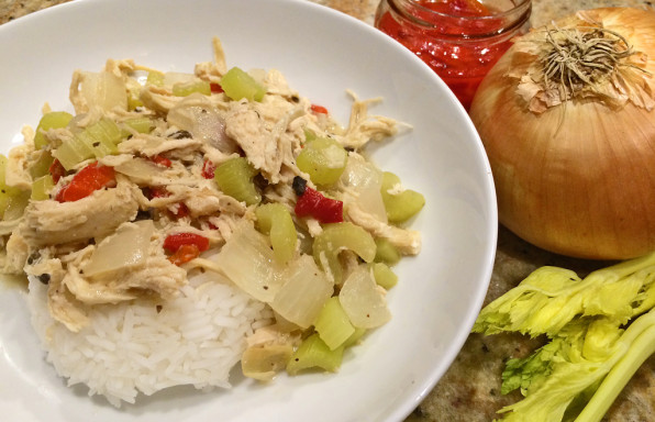Easy Chicken A La King with celery, onions, pimientos, and rice.
