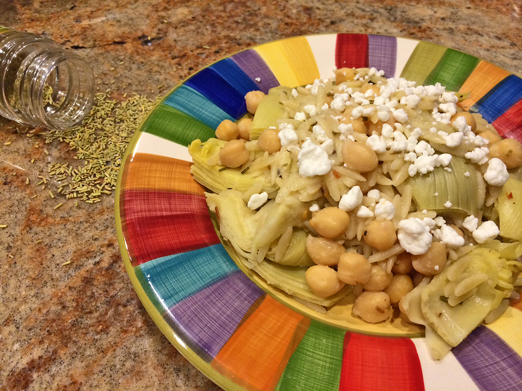 Artichoke and Chickpea pasta bake with lemon, rosemary. and goat cheese.