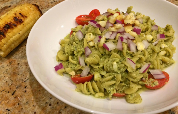 Creamy cilantro chimichurri pasta with veggies.