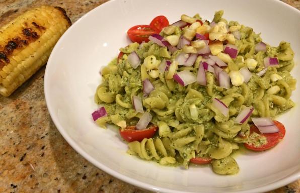 Creamy cilantro chimichurri pasta with veggies.