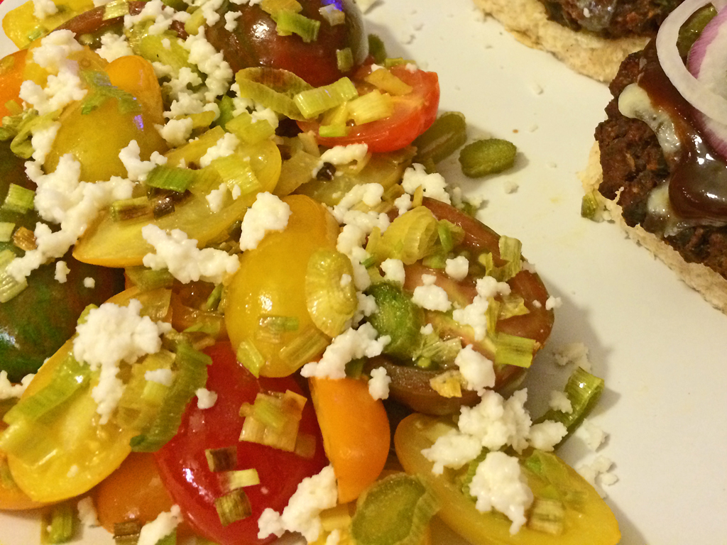Baby Heirloom Tomatoes with Scallions and Goat Cheese.