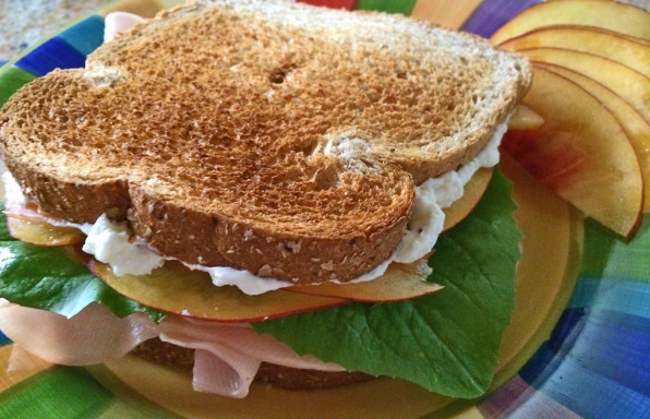 turkey and cream cheese sandwich with nectarines